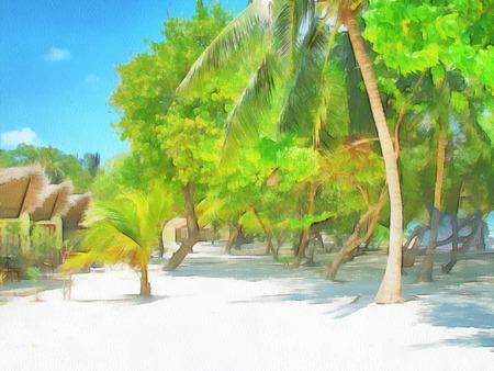 Painted Maldivian island in the summer sunshine. Illustration