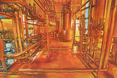 steel mill: Industrial plant equipment for beer production. Illustration