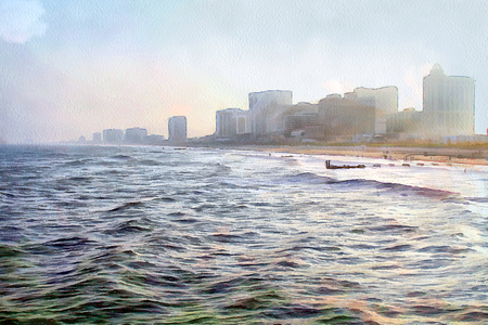 metropolis image: Painted view of the modern city on the sea coast. Illustration