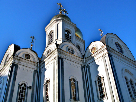 The facade of white orthodox church in Krasnodar, Russian Federation Stock Photo