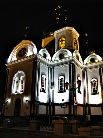 krasnodar: The facade of white orthodox church in Krasnodar, Russian Federation Stock Photo