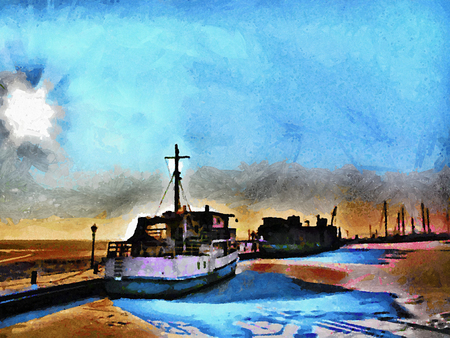 painted image: Painted image of the Dutch North Sea. Illustration