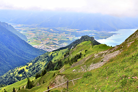 Panoramic view of the Alps in Switzerland on a hot summer day Stock Photo