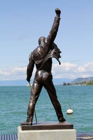 montreux: MONTREUX, SWITZERLAND - JULY 14, 2012: Freddie Mercury statue on the shore of Lake Geneva