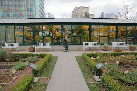 conservatory: Greenhouse with glass walls and roof for growing exotic plants Stock Photo