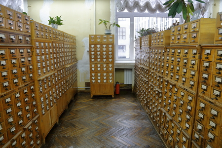 MOSCOW, RUSSIA - JANUARY 14, 2017: Wooden cupboards for cataloging books in the Russian State Library