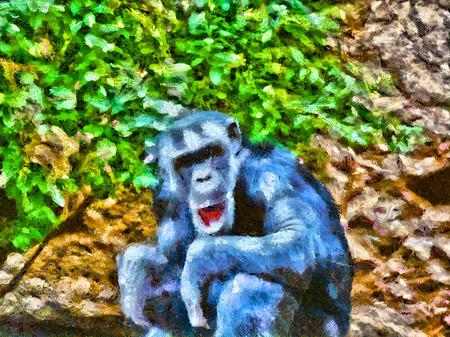 Painted adult chimpanzee sits next to green bush
