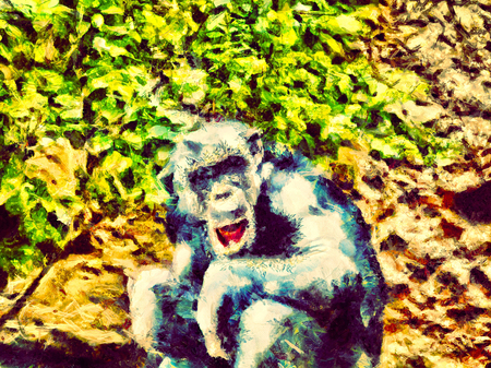 Painted adult chimpanzee sits next to green bush