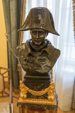 statesman: MOSCOW, RUSSIA - MARCH 3, 2017: The French emperor, general and statesman Napoleon I Bonaparte. A bronze bust in the Petroff Palace