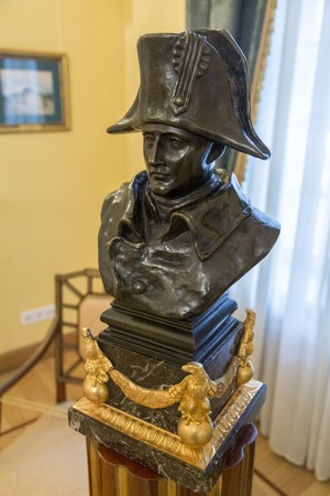 napoleon i: MOSCOW, RUSSIA - MARCH 3, 2017: The French emperor, general and statesman Napoleon I Bonaparte. A bronze bust in the Petroff Palace