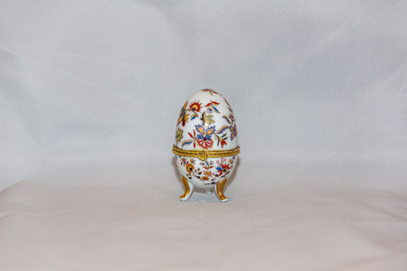Colorful festive easter egg on white background Stock Photo