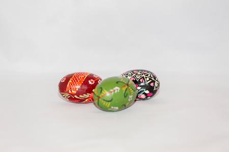Colorful festive easter egg on white background Stock Photo