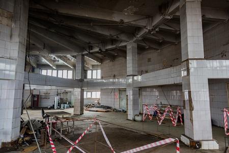 cluttered: Inside an abandoned deserted cluttered industrial building