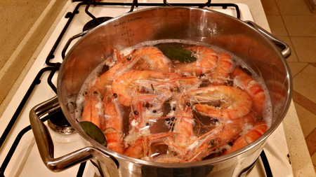 gas stove: Giant tiger shrimps with heads are cooked with a laurel leaf in a saucepan on a gas stove