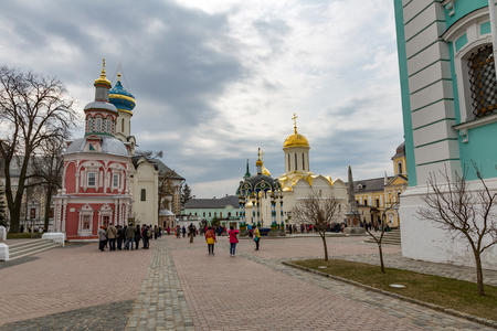 SERGIEV POSAD, RUSSIA - APRIL 26, 2017: Architecture of the ensemble of orthodox buildings of the Holy Trinity Saint-Sergius Lavra Editorial
