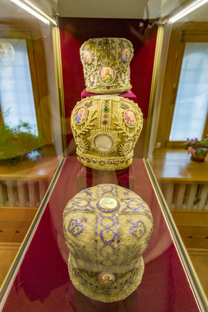ROSTOV VELIKY, RUSSIA - APRIL 26, 2017: Exhibit of the museum of enamels