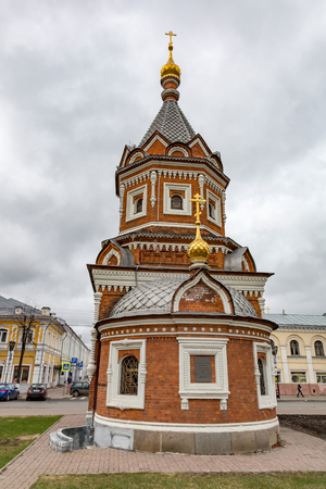 YAROSLAVL, RUSSIA - APRIL 27, 2017: The facade of the chapel of Alexander Nevsky. Architectural monument. Built in 1892
