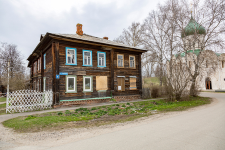 PERESLAVL-ZALESSKY, RUSSIA - APRIL 26, 2017: The building of the Spaso-Preobrazhensky Cathedral. Was founded by Yury Dolgoruky in 1152 Editorial