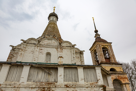 26: PERESLAVL-ZALESSKY, RUSSIA - APRIL 26, 2017: The building of the Church of Peter the Metropolitan. Rare architectural monument of the 16th century