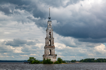 was: The flooded belfry was built in the russian city of Kalyazin in 1800. Tver region, the Volga river bank