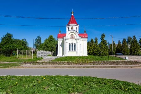 yaroslavl: MYSCHKIN, RUSSIA - JUNE 18, 2017: The facade of the Chapel of St. George the Victorious. Opened in 2008. Yaroslavl region