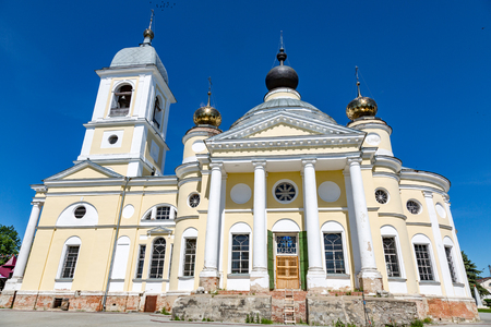 yaroslavl: MYSHKIN, RUSSIA - JUNE 18, 2017: The facade of the Cathedral of the Assumption of the Mother of God. Founded in 1805. Yaroslavl region
