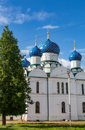 UGLICH, RUSSIA - JUNE 17, 2017: Exterior of the Epiphany Cathedral. Architectural monument. Founded in 1843