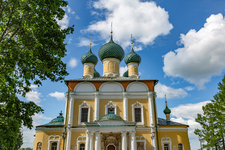 UGLICH, RUSSIA - JUNE 17, 2017: Exterior of the Saviors Transfiguration Cathedral. The architectural monument was founded in 1710