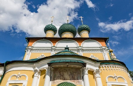 was: UGLICH, RUSSIA - JUNE 17, 2017: Exterior of the Saviors Transfiguration Cathedral. The architectural monument was founded in 1710