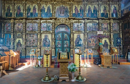 transfiguration: UGLICH, RUSSIA - JUNE 17, 2017: Interior of the Saviors Transfiguration Cathedral. The architectural monument was founded in 1710