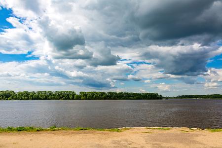 The shore of the grandiose Russian Volga river near the town of Uglich on a summer day. Yaroslavl region