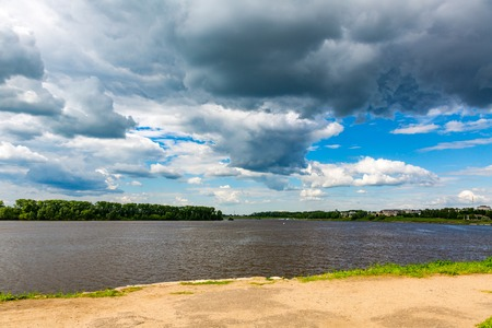 yaroslavl: The shore of the grandiose Russian Volga river near the town of Uglich on a summer day. Yaroslavl region