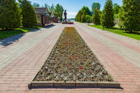 lament: MYSHKIN, RUSSIA - JUNE 18, 2017: Memorial complex dedicated to the 60th anniversary of the victory of Russians in the Great Patriotic War. Built in 2005