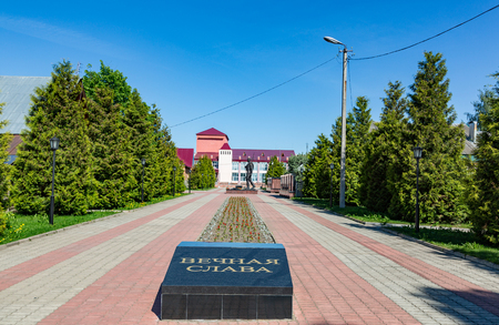 MYSHKIN, RUSSIA - JUNE 18, 2017: Memorial complex dedicated to the 60th anniversary of the victory of Russians in the Great Patriotic War. Built in 2005