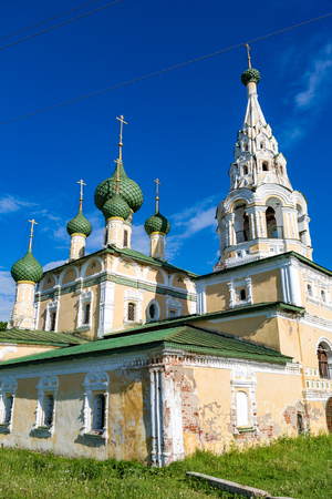 UGLICH, RUSSIA - JUNE 17, 2017: Facade of the Church of the Nativity of John the Baptist on the Volga River. Built in 1691