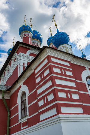 UGLICH, RUSSIA - JUNE 17, 2017: Facade of the Church of the Prince Dimitri on the Blood. Built in 1692 Editorial