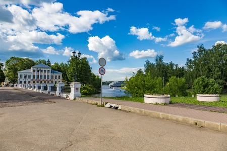 UGLICH, RUSSIA - JUNE 17, 2017: A small Nikolsky Cathedral bridge in the city center near the Kremlin. Built in 1820