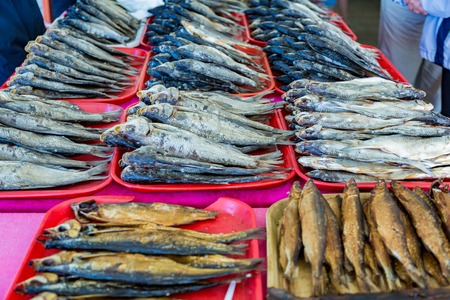karkas: Dried salted fish lies on the counter for sale