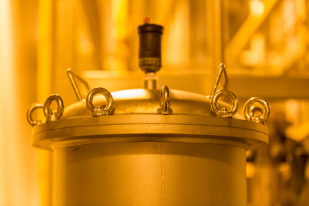 brewery: Equipment, industrial tools and machinery for the production of beer in factory shops Stock Photo