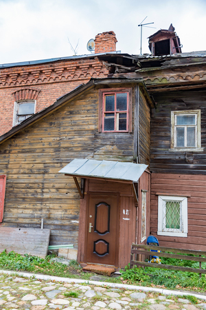 Old dilapidated abandoned building in a faraway provincial settlement Stock Photo