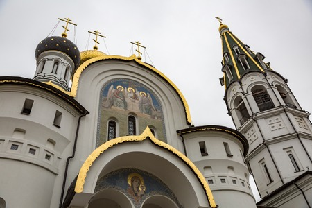 KNYAZHYE LAKE, RUSSIA - NOVEMBER 11, 2017: The facade of the Temple of Saint Prince Alexander Nevsky Editorial
