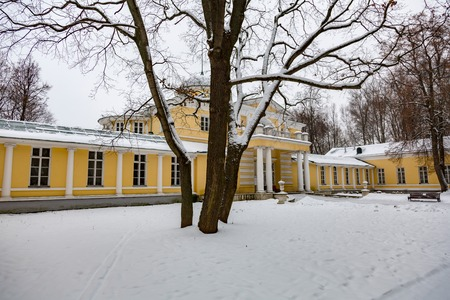 MOSCOW, RUSSIA - DECEMBER 9, 2017: The architecture of the historic Manor Bratsevo. Object of cultural heritage of Russia Editorial