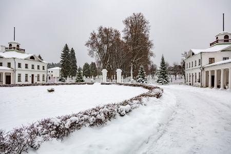 MOSCOW REGION, RUSSIA - DECEMBER 9, 2017: Architecture of the winter historical Manor Serednikovo. Built in the 18th century
