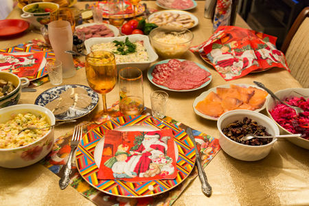 Food, snacks and drinks on the solemnly decorated table