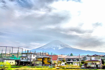 Painted in color paints famous Japanese mountain Fujiyama. Illustration Stock Photo