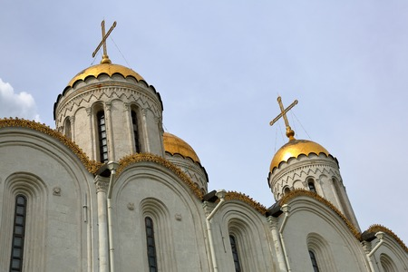 VLADIMIR, RUSSIA - MARCH 18, 2018: Assumption Cathedral of the XII century. An outstanding monument of white stone architecture. Gold Ring of Russia. UNESCO World Heritage