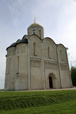 VLADIMIR, RUSSIA - MARCH 18, 2018: St Demetrius Cathedral of the XII century. Unique monumet of white-stone architecture. Inscribed on the UNESCOs World Heritage List