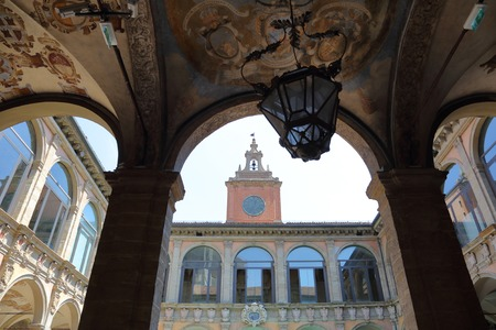 BOLOGNA, ITALY - MAY 20, 2018: The Palazzo of the Archiginnasio. The first permanent palace of the ancient University. Built in 1563