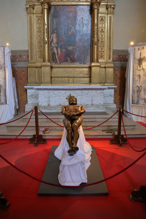 BOLOGNA, ITALY - JULY 20, 2018: Interior of the Basilica of San Petronio in Piazza Maggiore. The sixth largest church in Europe. The building was laid in 1390
