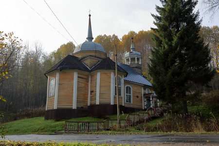 KARELIA, RUSSIA - OCTOBER 14, 2018: Church of the Apostle Peter. Resort Marcial Waters. Built in 1721 from pine timber Editorial